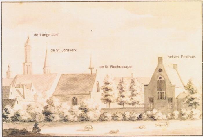 Stadssilhouet met St Rochuskapel en voormalig pesthuis (afgebroken in1892) t.b.v. woningen.
