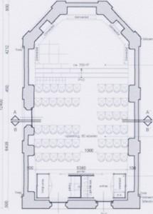 Na restauratie: verkort podium, eiken vestibule, vloerverwarming met convectie in koorvloer