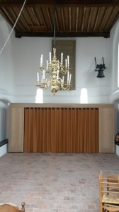 Nieuwe vestibule. Erboven op proef een van de 19e eeuwse regentendoeken
